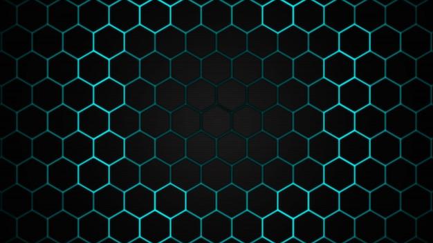 육각형 기술 추상적 인 배경으로 미래 표면의 디자인