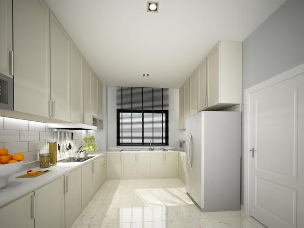 Дизайн интерьера кухни. 3d рендеринг