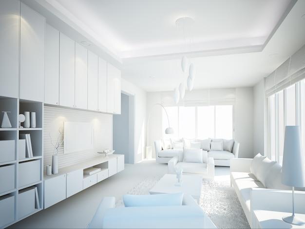 Дизайн интерьера гостиной. 3d визуализация