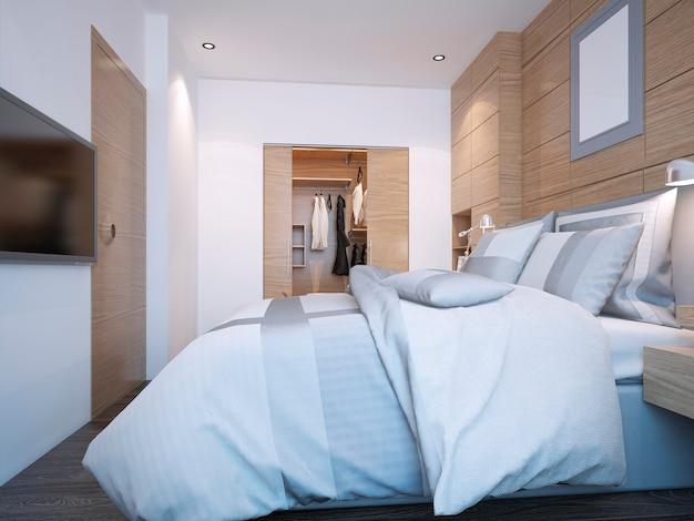 대형 옷장이있는 현대적인 침실 디자인