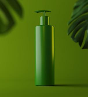 천연 화장품 크림, 혈청, 잎 허브, 바이오 유기농 제품이 포함된 스킨케어 빈 병 포장 디자인. 아름다움. 3d 일러스트입니다. 제품 프레젠테이션