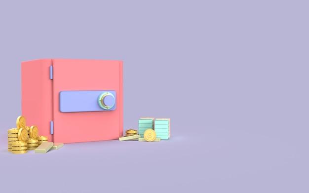 Design safe box money coin gold cute illustration 3d render