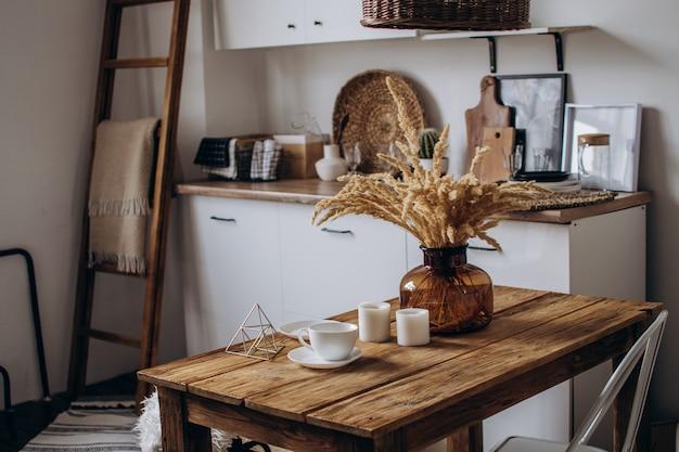 Design scandinavian interior of home office space