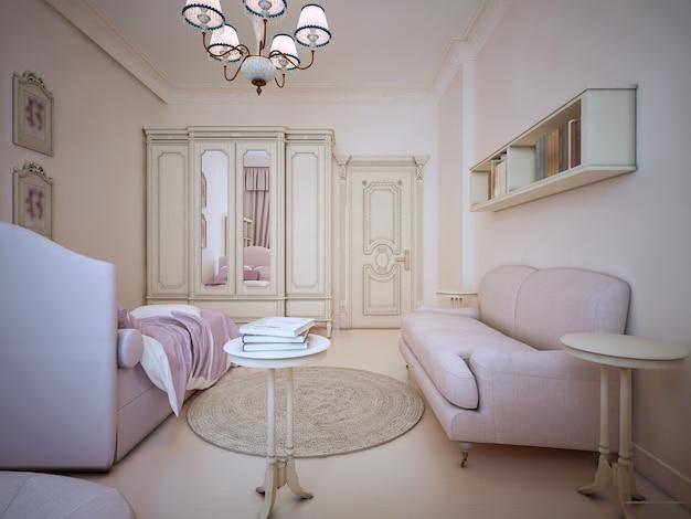 Design of shabby-chic bedroom