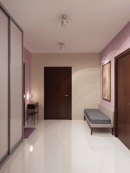 Design of spacious minimalist hallway.