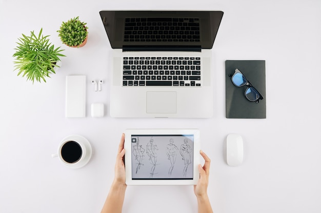 Design student with tablet computer