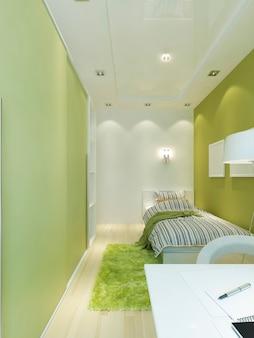 좁은 방에 십대 방 공간을 디자인하십시오. 밝은 녹색과 흰색 색상의 현대적인 스타일. 3d 렌더링.