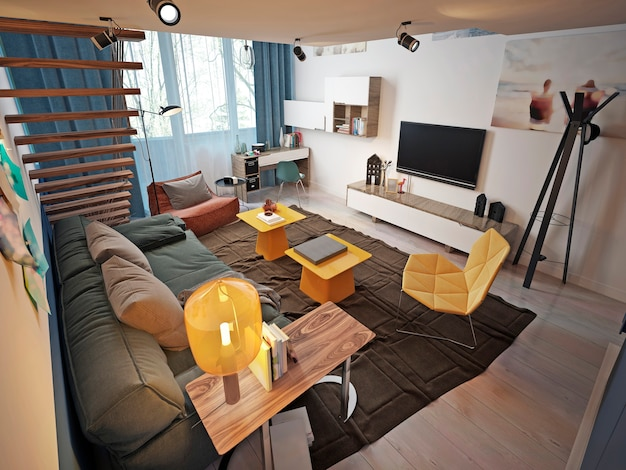 Design of a teenager's room in a loft style with a sofa and tv unit and a staircase to the second level.