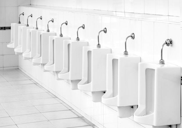 Design of white ceramic urinals for men in public toilet room