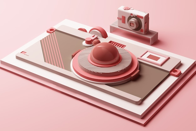 Design with composition the camera of geometric memphis style shapes in pastel pink tone 3d