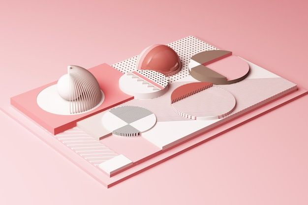 Design with composition of geometric shapes in pastel pink tone 3d rendering illustration