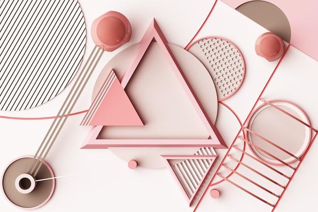 파스텔 핑크 톤 3d 렌더링의 기하학적 멤피스 스타일 모양의 구성으로 디자인