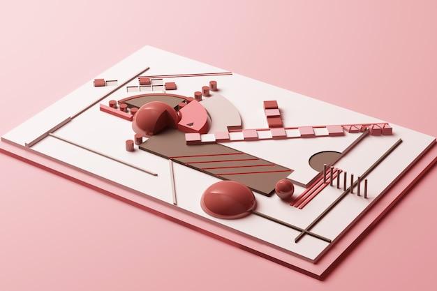 파스텔 핑크 톤 3d 렌더링 그림의 기하학적 인 도형으로 디자인