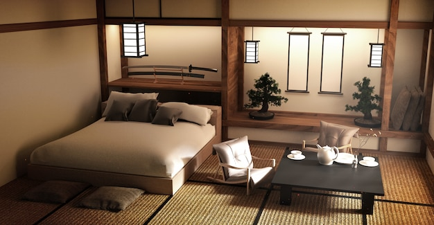 Designed specifically in japanese style bed room and decoration japanese style. 3d renderi