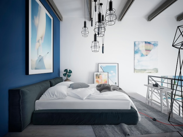 침실 로프트 스타일의 디자이너 침대.