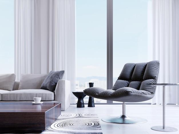 Дизайнерское черное кресло у окна в современном интерьере. эффект глубины резкости. 3d рендеринг