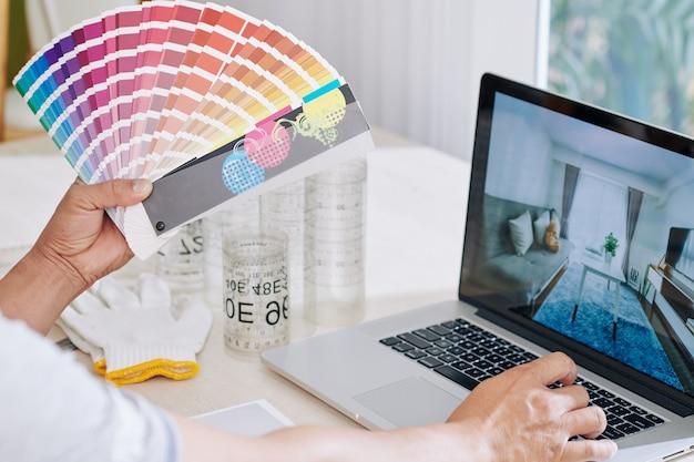 Designer choosing paint color