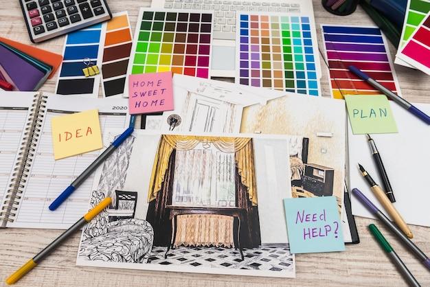 デザイナーデスク。モダンなアパートの計画。アパートの建築計画。