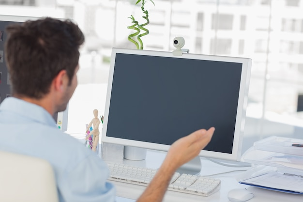 Designer having a video chat