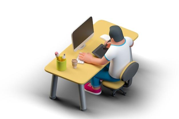 デスクトップコンピューターモニターグラフィックタブレットと描画でテーブルに座っているデザイナーイラストレーターアーティスト