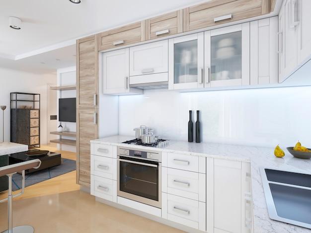 파스텔 색상의 현대적인 스타일의 디자이너 주방. 3d 렌더링