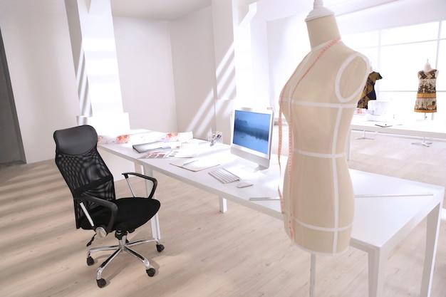 Designer leave her working tailor studio
