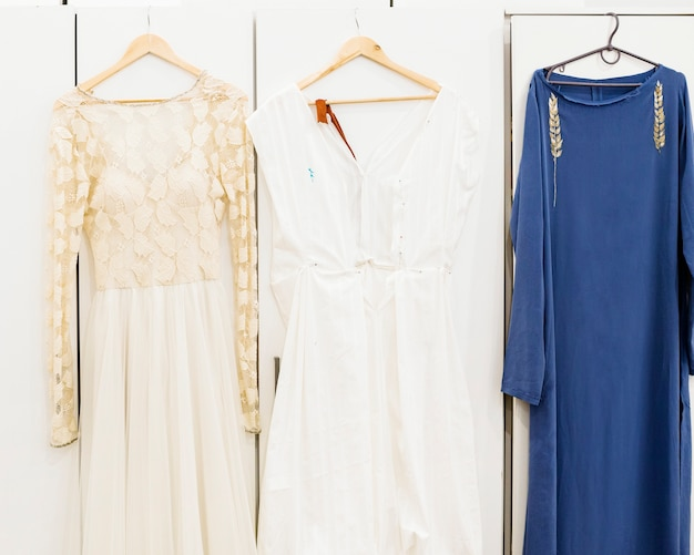 Designer's dress hanging on coathanger