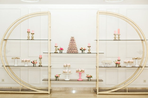 Designer shelf with sweets. decoration of the holidays