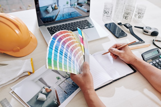 Designer working on color scheme