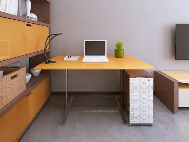 モダンなリビングルームの机と椅子。ワークスペース。家具の黄色と茶色の色。 3dレンダリング。