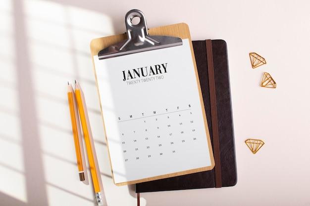 Desk arrangement with calendar top view