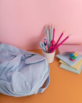 Desk arrangement with colorful pencils