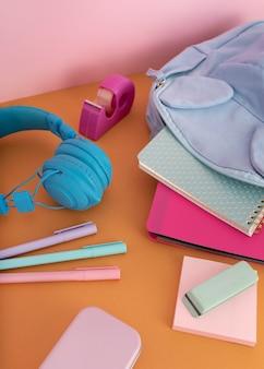 Desk arrangement with headphones