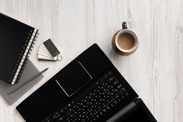 Desk arrangement with laptop top view