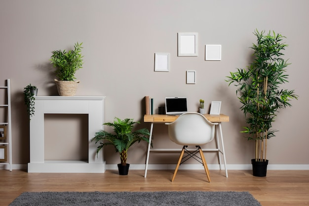 Desk concept with plants and chair