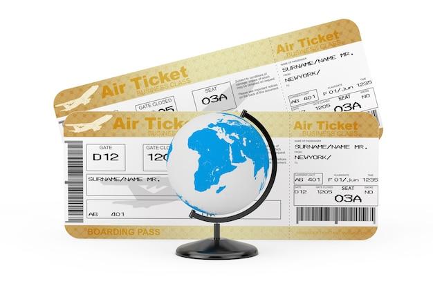 白い背景の上の2つのゴールデンビジネスまたはファーストクラスの航空会社の搭乗券フライエアチケットの前にあるデスクアースグローブ。 3dレンダリング