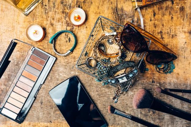 Desk full of accessories for women