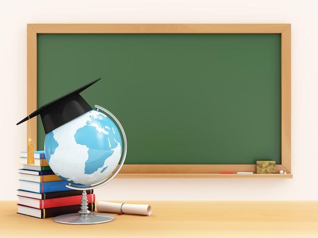 卒業の帽子、卒業証書、緑の黒板が付いている学校の机の上の本が付いている机の地球