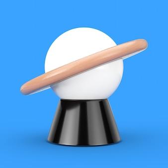 青い背景に抽象的な惑星の形をしたデスクナイトランプ。 3dレンダリング