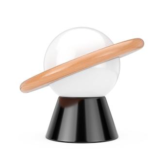白い背景の上の抽象的な惑星の形をしたデスクナイトランプ。 3dレンダリング