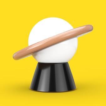 黄色の背景に抽象的な惑星の形をしたデスクナイトランプ。 3dレンダリング