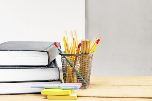 Desk with book and stationery