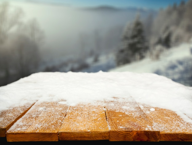 Desk with snow on it
