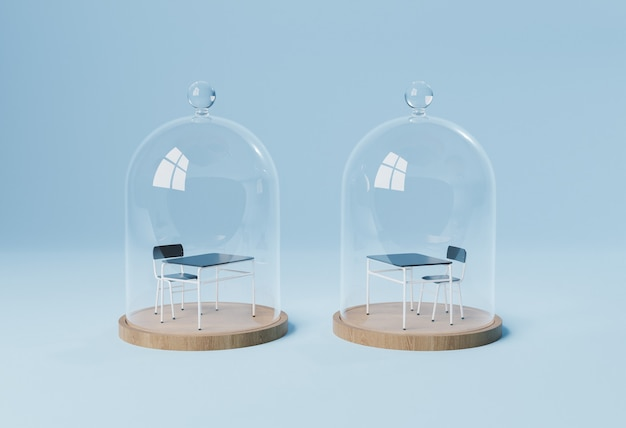 Desks in isolation domes