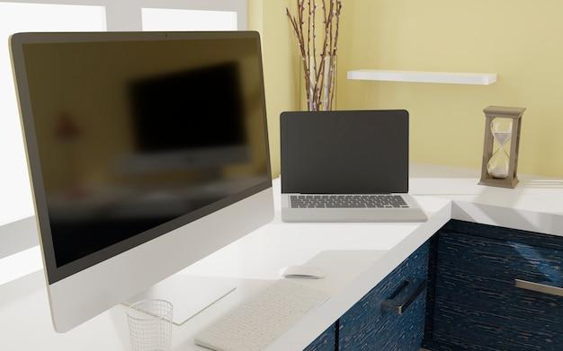 모형을위한 검은 화면이있는 데스크톱 컴퓨터 및 노트북