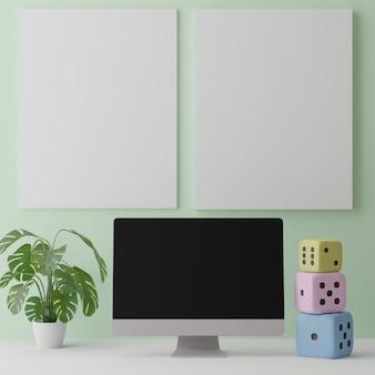 데스크탑 컴퓨터와 벽 모형의 빈 캔버스.