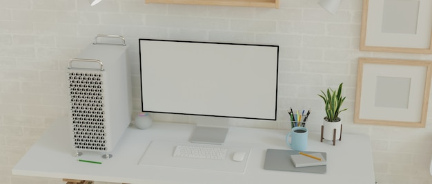 Desktop computer empty monitor in minimalistic modern home interior with blank frames 3d