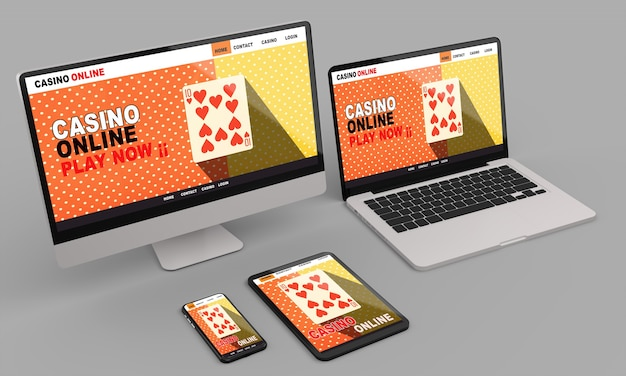 카지노 온라인 반응 형 웹 화면이있는 데스크탑 컴퓨터, 노트북, 스마트 폰 및 태블릿