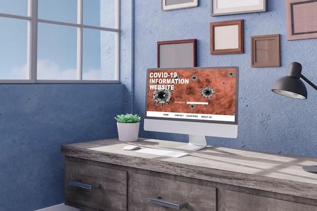 사무실 모형 d 렌더링 d 그림의 테이블에 데스크톱 컴퓨터 covid 정보 온라인