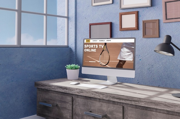 사무실 모형 d 렌더링 d 그림 스포츠 온라인 개념의 테이블에 데스크톱 컴퓨터